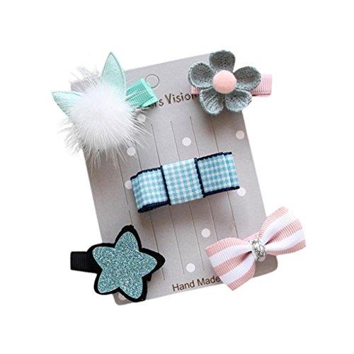 Stirnbänder Longra 5Pcs Baby Mädchen Bogen Blumen Barrettes Stern Haar Klipp-Satz (Blue)