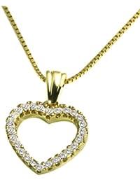 Goldmaid - Collier Femme avec pendentif - Coeur - Or jaune (9 Cts) 2 Gr - Diamant 0.18 Cts