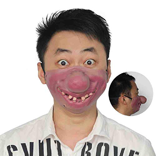 Witze Sie Kostüm Auf Adult - DSWIME Halloween Maske Scary Horror Maske Funny Half Face Masquerade Adult Party Supplies Horror Halloween Party Decor Kostüm Requisiten