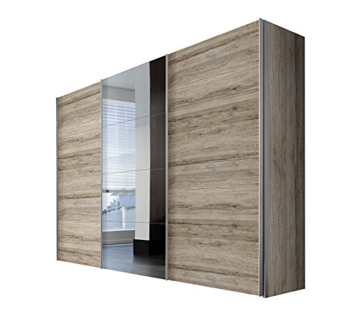 Express Möbel Kleiderschrank Schlafzimmerschrank Eiche San Remo hell 300 cm mit Spiegel, 3-türig, BxHxT 300x216x68 cm, Art Nr. 49840-160