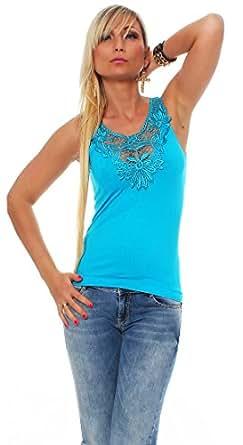10456 Fashion4Young Damen Tank-Top in Ripp-Optik Spitze Häkelspitze-Top Shirt verfügbar 9 Farben 2 Größen (S/M 34/36, Blau)