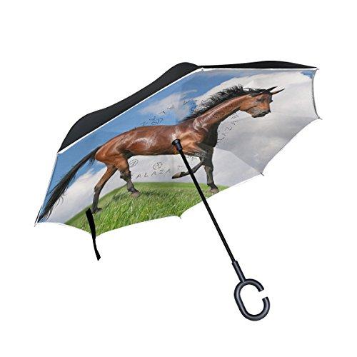 XiangHeFu Double Layer seitenverkehrt Rückseite Regenschirme Sauerampfer Pferd Gallops in Field Faltbar Winddicht UV-Schutz Big Gerade für Auto mit C-Förmigem Henkel