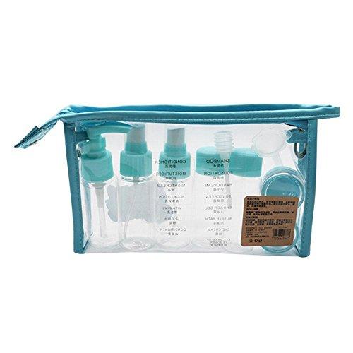 AOLVO Travel Toiletry durchsichtiger Behälter, leere Kosmetik Make-up Liquid Spray Flasche mit Reißverschluss Wasserdichte Tasche (transparent) blau