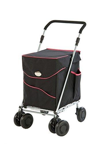 Sholley Deluxe Einkaufswagen und Gehhilfe im Schwarz und Rosa, Regulär ist für Leute ab 162cm