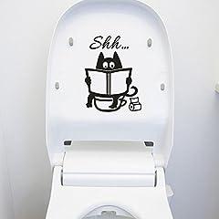 Idea Regalo - Topgrowth Decorazioni Pareti Gatto Carino Shh Toilette Removibile Vinile Murale Casa Arredamento della Camera Wall Stickers