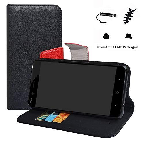 LFDZ Wiko Jerry 3 Hülle, [Standfunktion] [Kartenfächern] PU-Leder Schutzhülle Brieftasche Handyhülle für Wiko Jerry 3 Smartphone (mit 4in1 Geschenk Verpackt),Schwarz