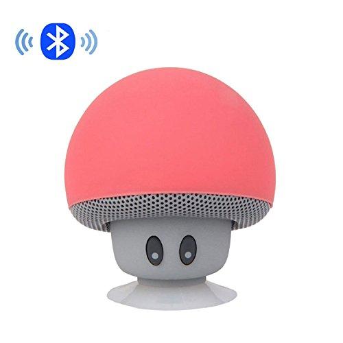 IPUIS Mignon Champignon Mini Enceinte Portable Bluetooth Haut Parleur avec Micro Intégré et Ventouse pour Smartphone iPhone, iPad, Samsung etc - Rouge