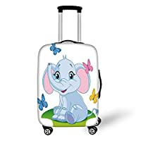 Travel Luggage Cover Suitcase Protector,Nursery,Cute Baby Elephant Sitting on The Meadow in Spring Time with Butterflies,Baby Blue Pink Green,for Travel,S