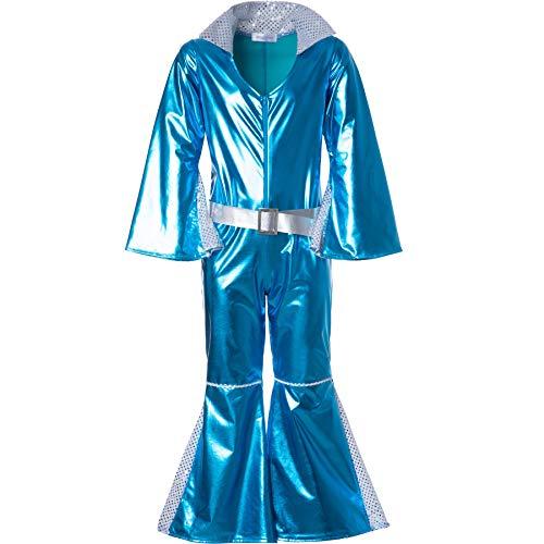 dressforfun 900495 - Costume da Bambina Scintillante Disco Starlet, Monopezzo in Stoffa Lucida Color Blu Neon (128| No. 302365)