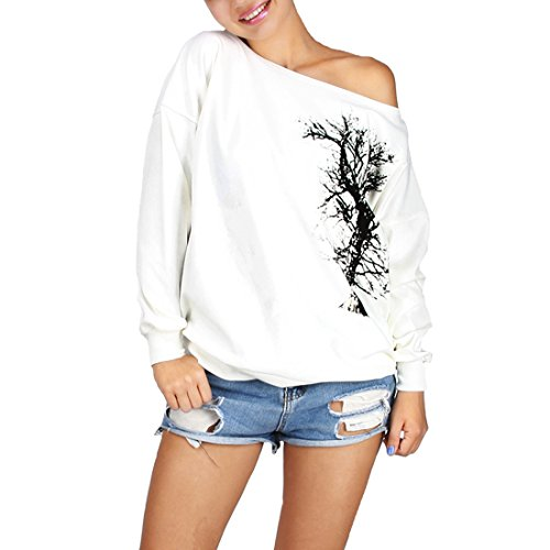 COUSIN CANAL Donna Sweatshirts Pullover Casuale Off Spalla Manica Lunga Tops Felpe tree
