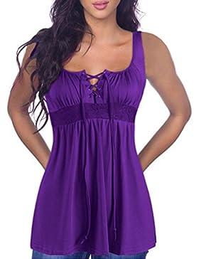 Jinglive Verano Mujer Casual Sexy Cuello V Moda Solid Plisada Vendajes Camisetas Tank Tops Remata Camisa Largas...
