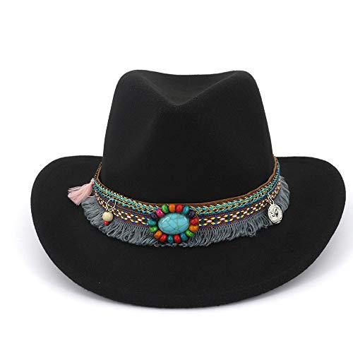 HUACHEN Fashian Western Cowboy Fedora Hats for Männer Frauen Elegante Zylinder Breiter Krempe Mit Quaste Nationalen Stil Band Herbst Outdoor-Hüte (Farbe : Schwarz, Größe : 56-58) - Herbst-bands