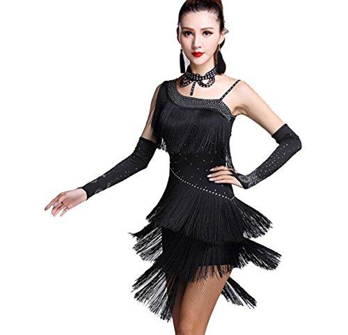 SMACO-Lateinischer Tanzrock für Erwachsene Frauen tanzen Kostüm 3 Stück Kleid, Ärmel, Halskette Salsa Kleid Samba Kleid Damen Tanzkleid, l, ()
