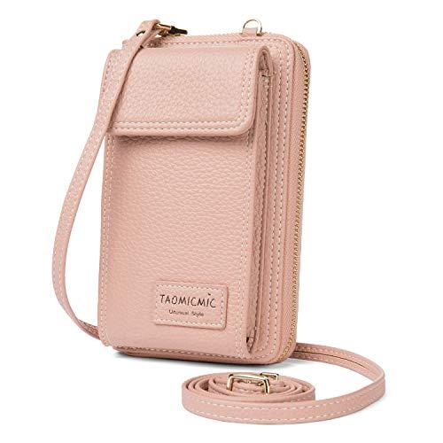 Enmain Kleine Crossbody Tasche Handy Portemonnaie fur Frauen PU Leder Handtaschen Rosa