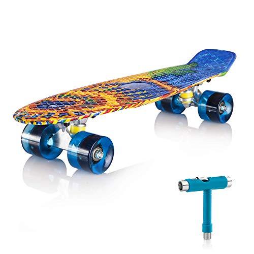 """Newdora 22\"""" kompletter Skateboard Cruiser mit Buntem LED-Lichtrad für Kinder, Jungs, Mädchen, (Sun,22)"""