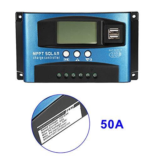 Feeilty 50A MPPT Solarpanel Regler Laderegler 12 V/24 V Autofokus-Tracking-Gerät