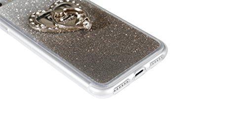 Clear Matte Crystal Rubber Protettivo Case Skin per Apple iPhone 7 4.7, CLTPY Moda Brillantini Glitter Sparkle Lustro Progettare Protezione Ultra Sottile Leggero Cover per iPhone 7 + 1x Stilo - Purpl Nero con Ring
