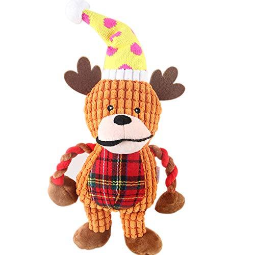 Christmas Deer Plüschtier Pet Molar Bite Puppy Large Dog Teddy Gesangs-Puppe kann das Problem der beißenden Dinge lösen, ist der Begleiter, wenn das Haustier gelangweilt ist