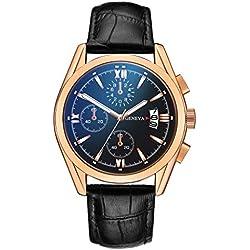 Montre Homme en Cuir Montre à Quartz Intelligente Horloge Bracelet Tendance Classique Sauvage en Général Casual