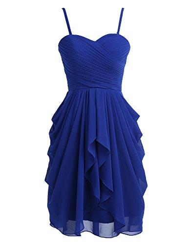 Dressystar Robe de demoiselle d'honneur/soirée/bal courte, à Col en Cœur,en Mousseline Taille 38 Bleu Saphir