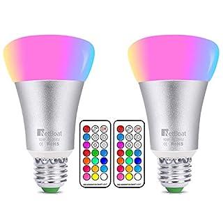 2 Stück mehrfarbige farbwechselnde LED-Leuchtmittel, 10W, E27 Fassung,dimmbar, mit Fernbedienung, perfekt für Haus-Bar, Party-Dekoration, Ambiente, Stimmungslicht
