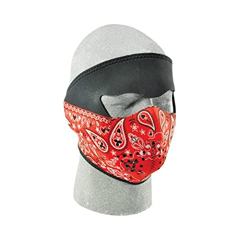 Zan Headgear Paisley Bandanna Men's Full Face Mask On-Road Racing Motorcycle Helmet Accessories - Red / One Size Fits Most by Zanheadgear