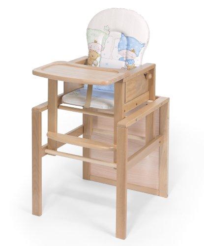 KOKO- Kombi-Hochstuhl | 'OSKAR' | BUCHE | umbaubar zur Stuhl-Tisch Kombination | Foliensitzwahl
