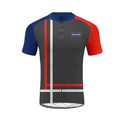 Uglyforg 2019 Herren Radtrikot Shirt Kurzarm Pro Team MTB Radfahren Top Radshirt Atmungsaktiv Durchgehender Reißverschluss