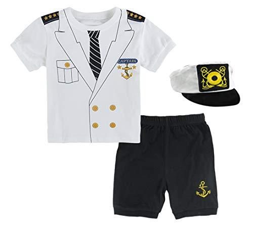 Mombebe Baby Jungen Kapitän Kostüm Kleidung Sets mit Hut (6-12 Monate, Kapitän)