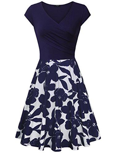 Lotusmile Womens Vintage Floral Short Sleeve V Neck Casual A Line Dress