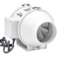 Hon&Guan 100mm Ventilador Extractor de Aire en Línea con Motor de Dos-velocidades para Oficina , Hotel , Baño - 198m³/h Ventilación (100mm)