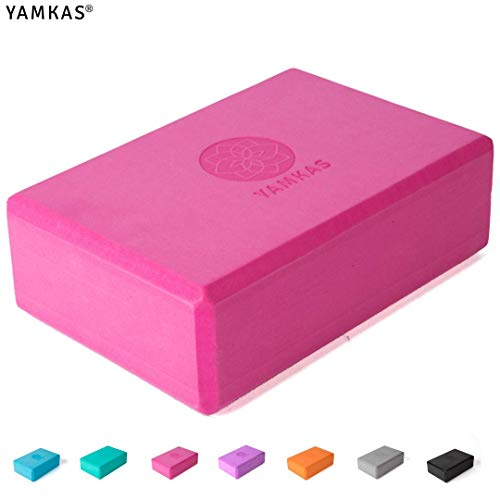 Yamkas Yoga Block | Yogablock aus Hochdichter Eva-Schaum | Blöcke - Klotz fur Pilates - Fitness | 1er - 2er Set Yogaklotz | Rosa