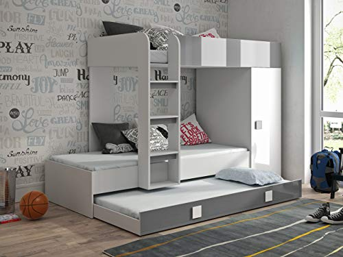 Etagenbett für Kinder TOLEDO 2 Stockbett mit Treppe und Bettkasten KRYSPOL (Weiß + Grau Glanz) (Kinder-hochbett Mit Treppe)