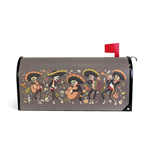 Magnetische Briefkastenabdeckung, traditionelles mexikanisches Halloween-Design, mit lustigem Skelett-Spiel, Briefkasten-Abdeckung, bunte Malerei, Dekoration, 5,8 x 45,7 cm, Standardgröße, mehrfarbig