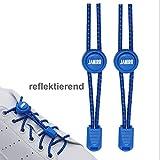 JANIRO Elastische Schnürsenkel rund mit Schnellverschluss   Schnellschnürsystem für Schuhbänder ohne binden   Kinder & Erwachsene (blau reflektierend)