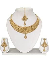 Vipin Store Golden Color Stone Gold Plated Jewelery Set