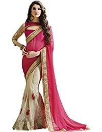 Lovit Fashion Women's Georgette Saree With Blouse Piece (Srmbpinkcord,Pink & Beige,Free Size)