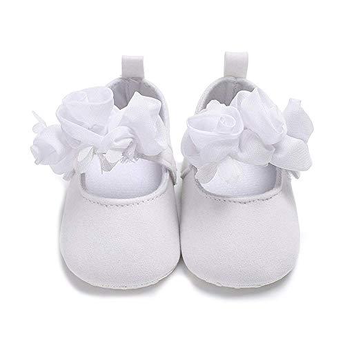 AAGOOD Neugeborenes Baby, Babybetten Schuh Anti-Rutsch-Blumen-weiche Sohle Prewalker Kleinkind Neugeborenes weichbesohlte Walking-Schuh - Weiss