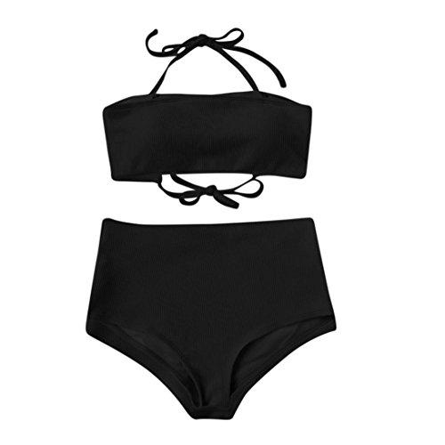 Bikini Damen,Binggong Frauen Bikini Set Push Up Bikini Bralette Bademode Freche Bikini Bottom Badeanzug Neckholder Bikini Badebekleidung Einfarbiges Versuchung Strand Mädchen Elegant (Schwarz, S) (Stolz Sweatshirt Kinder)