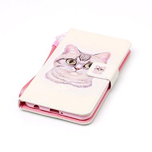 Feeltech LG X Power Hülle,LG X Power Magnet Leder Wallet Cover,Elegant Soft PU Kartenfach Extra Dünn Tasche Bunte Relife-Muster [Stand Funktion] Karte Halterung Klapp hülle Flip Book Design Case Flexi Weiße Katze