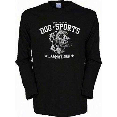 Langarm-Shirt mit Hunde Motiv geil bedruckt / Dog Sports - Dalmatiner ! Schwarz