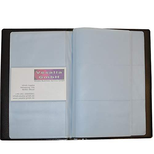 Visitenkartenmappe schwarz für 120 oder 240 Karten. Für Büro und Praxis, für Messebesuche ideal auch für Kreditkarten geeignet (120 Karten)