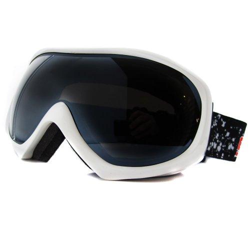 Dirty Dog Skibrille Bluff 54044 Shiny White mit Grey Flash Mirror Brillenglas - 54044 Ski Skibrille