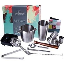 Barmix - 56 piezas de acero inoxidable para coctelería - Coctelera de 750 ml, Colador, Cuchara de mezcla, Tazas de medición de 25 ml + 50 ml, Agitador, Mano de mortero, Cuchillo, Cubo de hielo y pinzas, 24 Pajitas hawaianas 3D, Molde de bola de hielo + Libro GRATIS de ideas con 150 recetas.