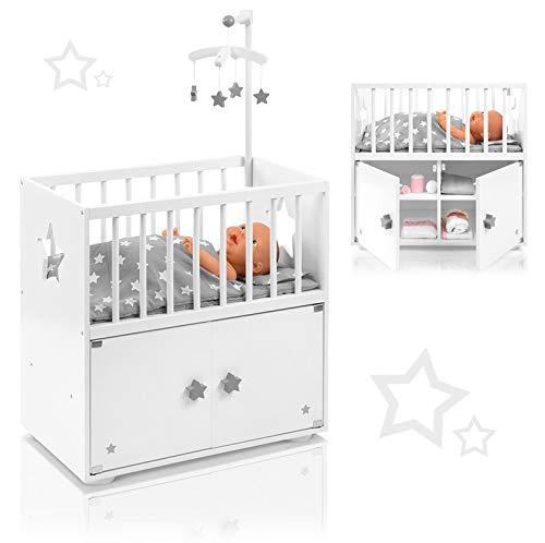 SUN Puppenbett mit Schrank und Mobile Sternchen (Weiß-Grau)