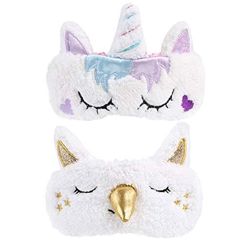 Kesote 2 Stück Einhorn Schlafmaske Unicorn Augenabdeckung, Gold und Lila