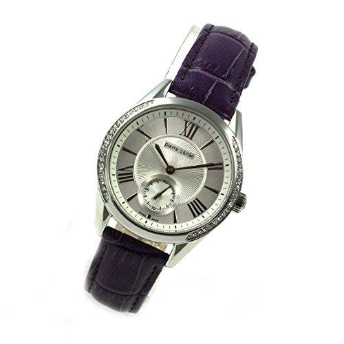 Pierre Cardin Classic Purple banda de piel Segundero pequeño Mujer Reloj Swiss pc106302s02