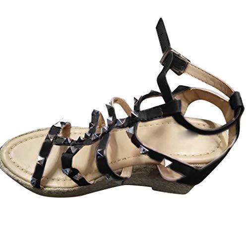 Strap Womens Slip (Sandalen Sind FüR Zu Hause UnerläSslich Mode Retro Womens Buckle Strap Nieten Wedges Thick Bottom RöMische Schuhe Sandalen Schwarz 36)