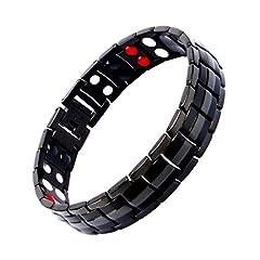 Idea Regalo - Terapia magnetica bracciali in titanio per uomo o donna sana Sleek polsino per sollievo dal dolore con attrezzo per rimozione maglie