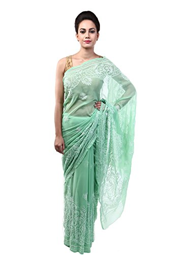 Lucknow Chikankari Handmade Exclusive Green Georgette Ethnic Saree By ADA A42304